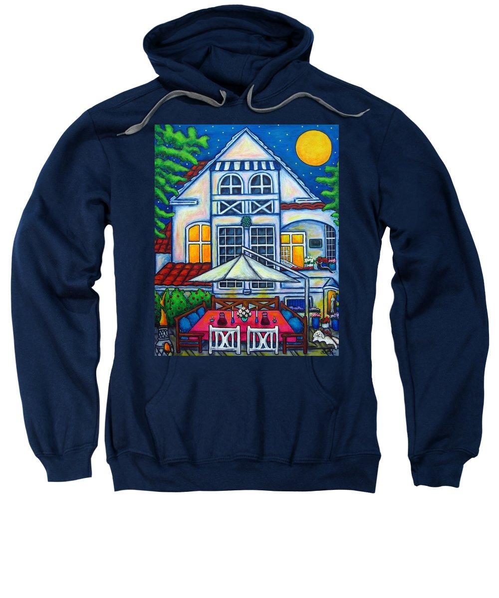 Denmark Sweatshirt featuring the painting The Little Festive Danish House by Lisa Lorenz