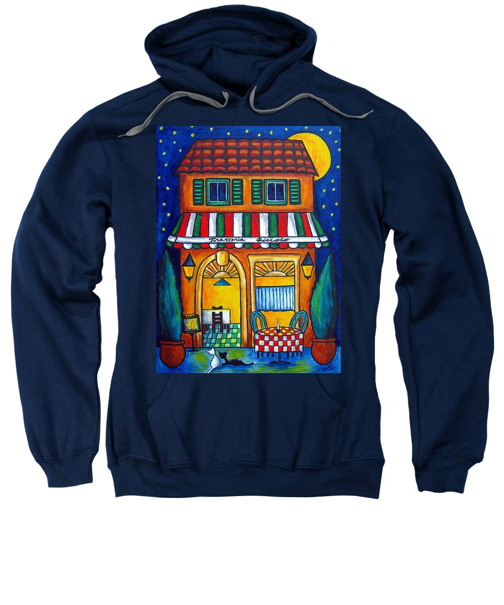 Blue Sweatshirt featuring the painting The Little Trattoria by Lisa Lorenz