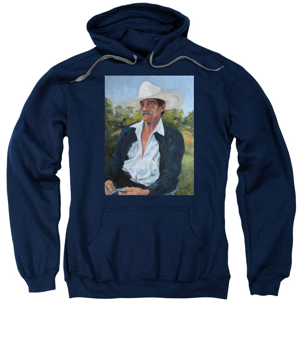Portrait Sweatshirt featuring the painting The Man From The Valley by Connie Schaertl