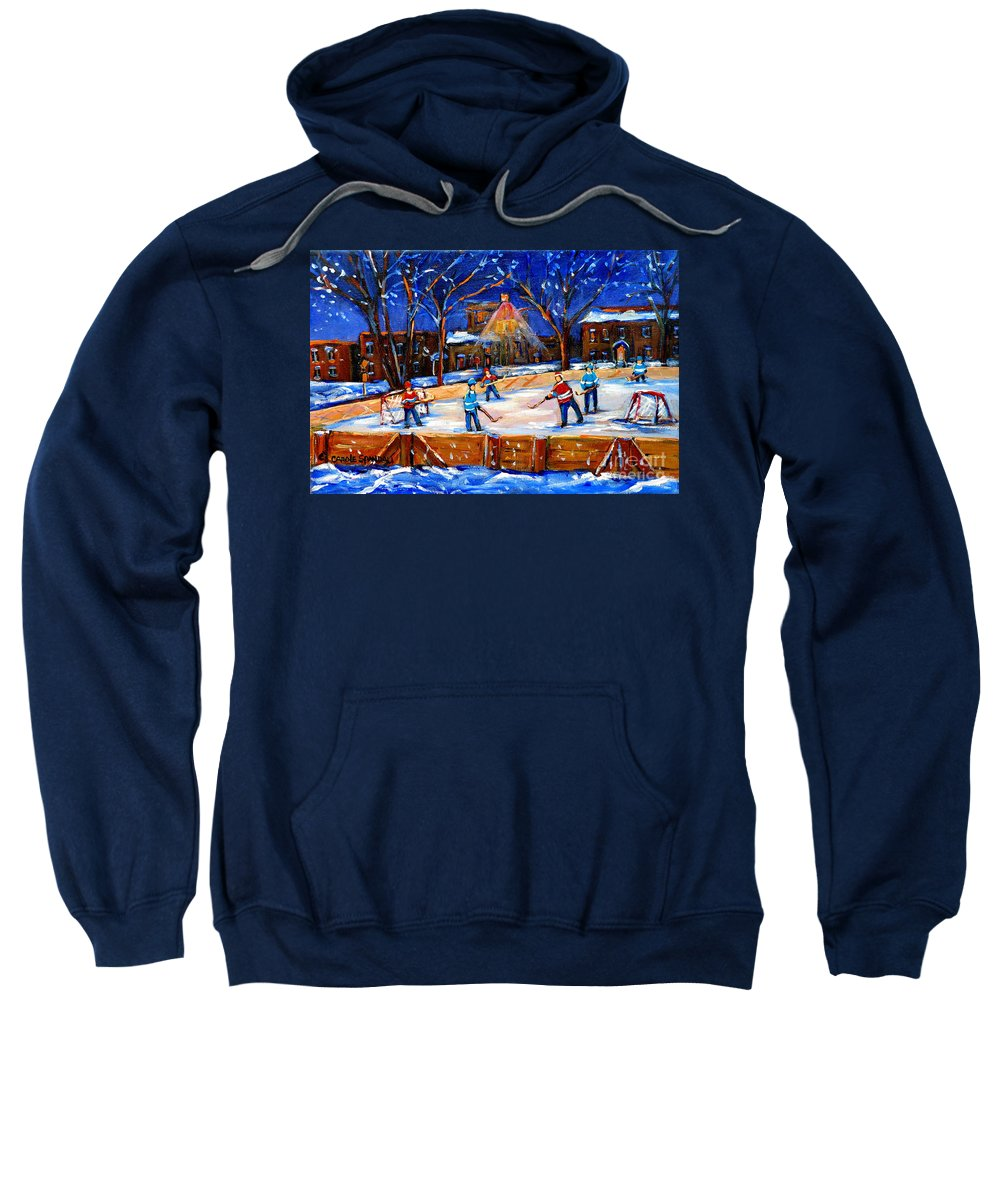 Montreal Sweatshirt featuring the painting The Neighborhood Hockey Rink by Carole Spandau