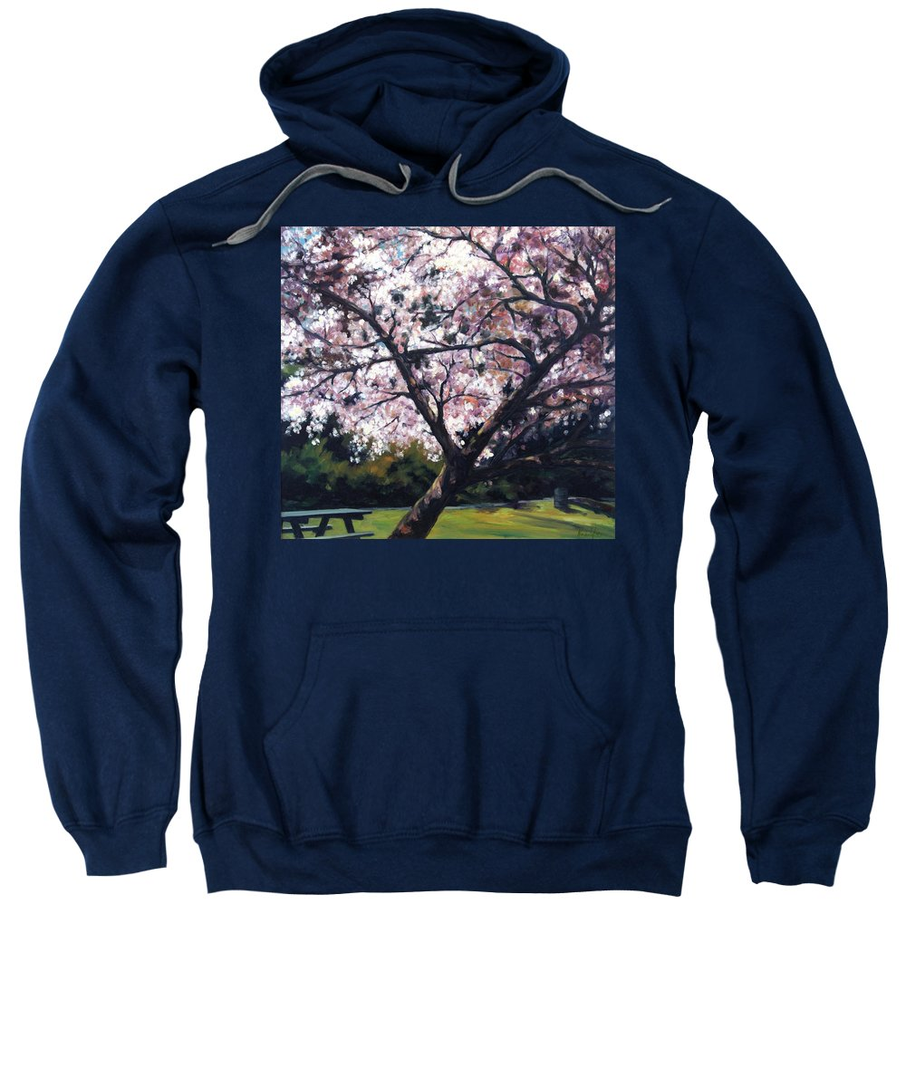 Spring Sweatshirt featuring the painting The Picnic Table by Rick Nederlof