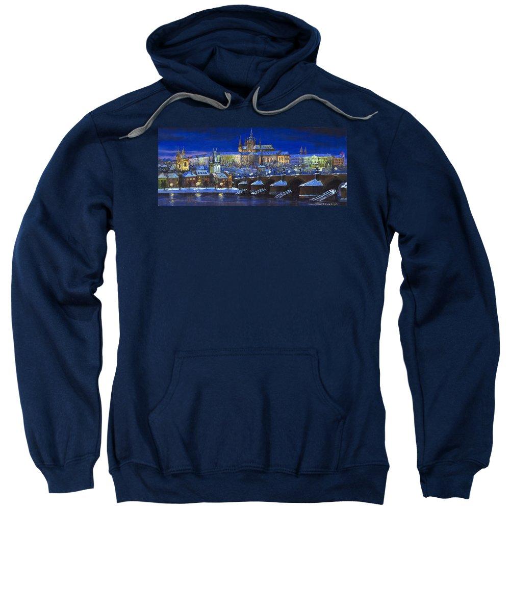 Prague Sweatshirt featuring the painting The Prague Panorama by Yuriy Shevchuk