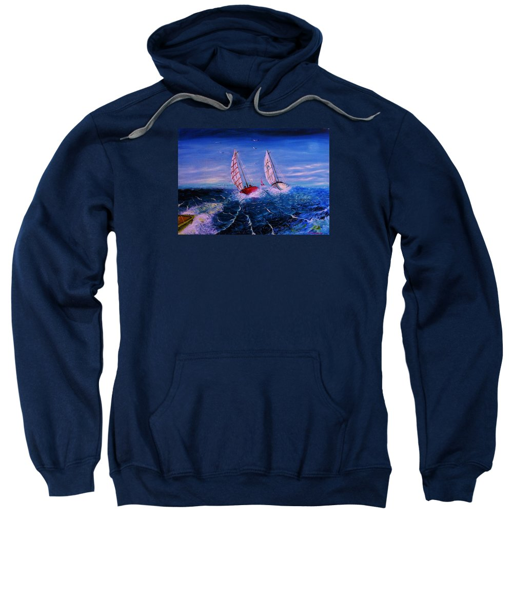Seascape Sweatshirt featuring the painting The Race by Lorenzo Roberts