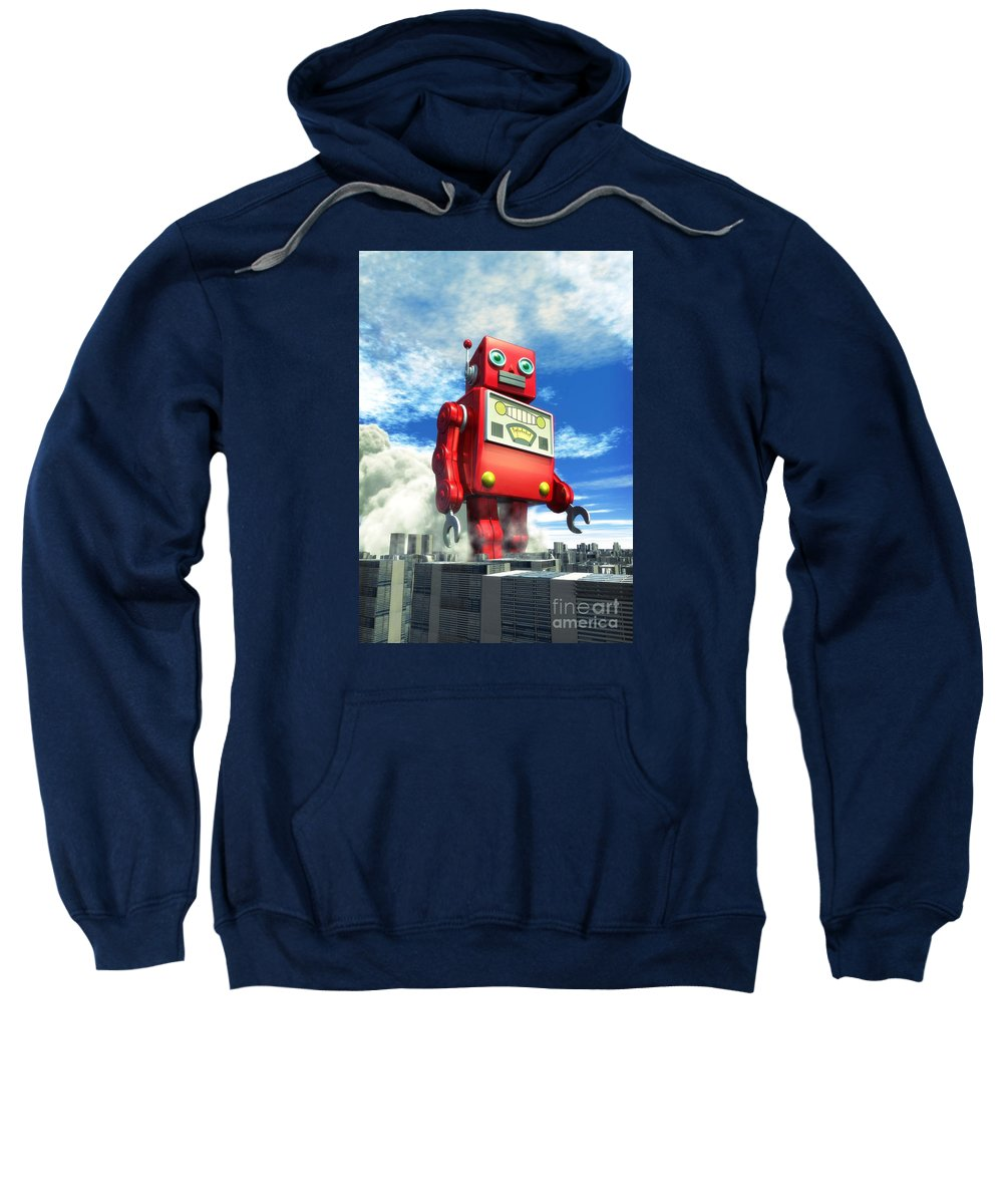 Robot Sweatshirt featuring the digital art The Red Tin Robot And The City by Luca Oleastri