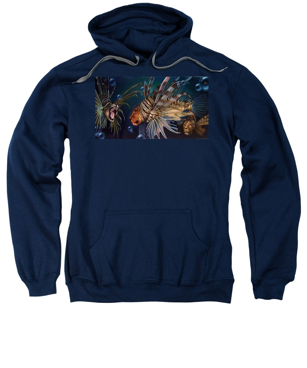 Lion Sweatshirt featuring the painting The Sentinels by Patrick Anthony Pierson