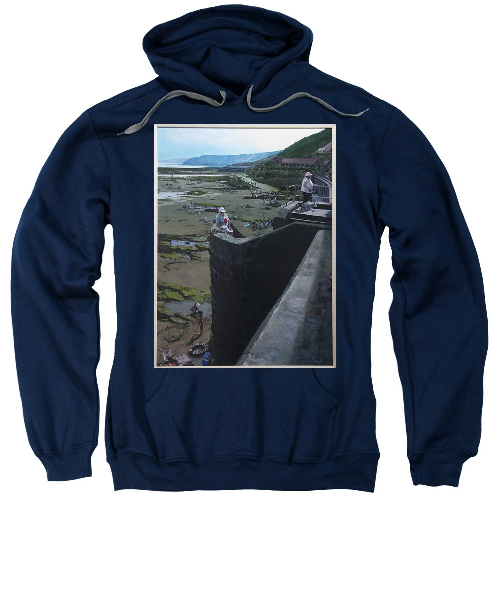 Britain Sweatshirt featuring the painting The South Bay In Scarborough. by Harry Robertson