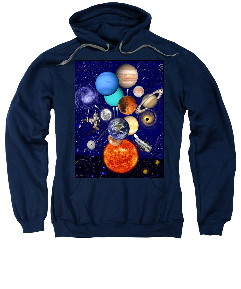 The Sunflower Solar System Sweatshirt featuring the drawing The Sunflower Solar System by Jose A Gonzalez Jr