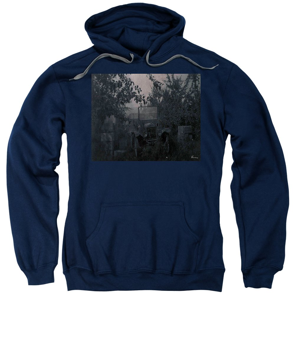 Old Photo Black And White Classic Saskatchewan Pioneers History Old Jeep Truck Sweatshirt featuring the photograph The Supply Truck by Andrea Lawrence