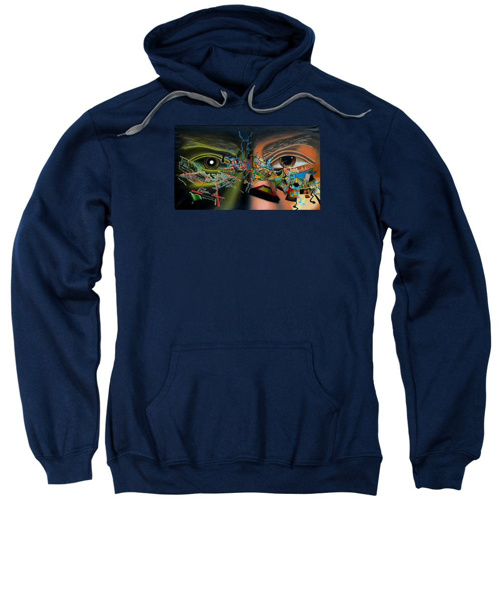 Surreal Sweatshirt featuring the painting The Surreal Bridge by Dave Martsolf