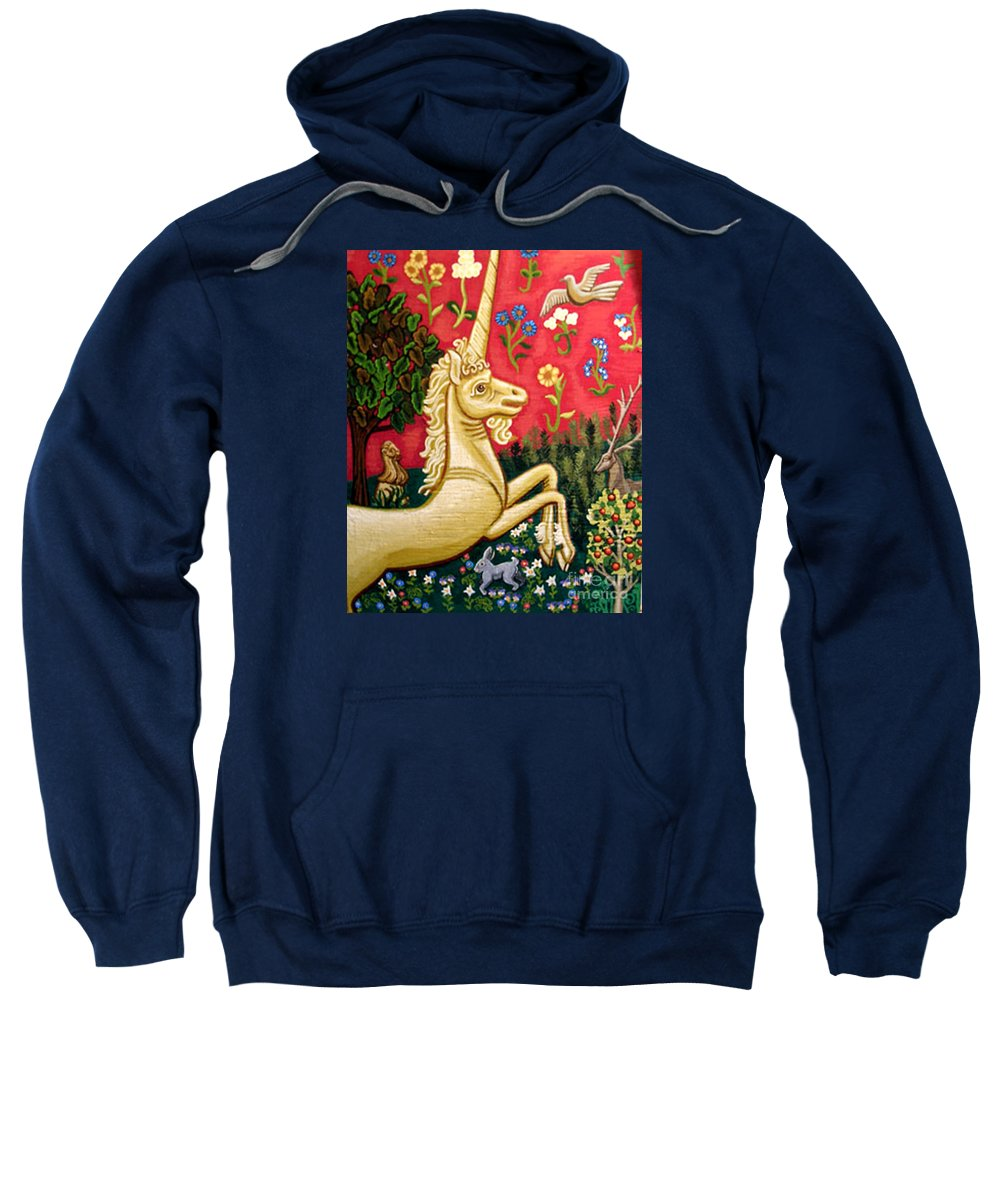 Unicorn Sweatshirt featuring the painting The Unicorn by Genevieve Esson