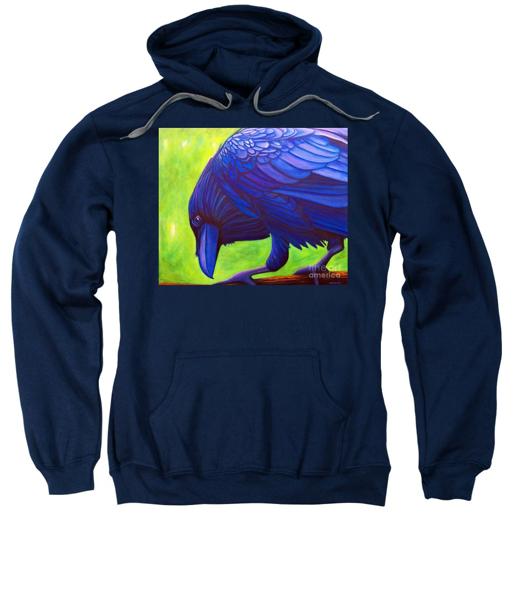 Raven Sweatshirt featuring the painting The Witness by Brian Commerford