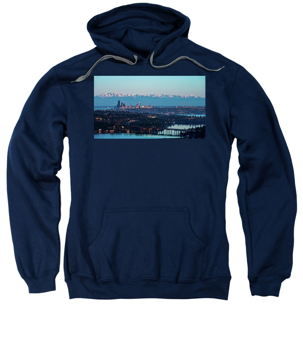 Olympics Sweatshirt featuring the photograph The_olympics_over_seattle by Safe Haven Photography Northwest