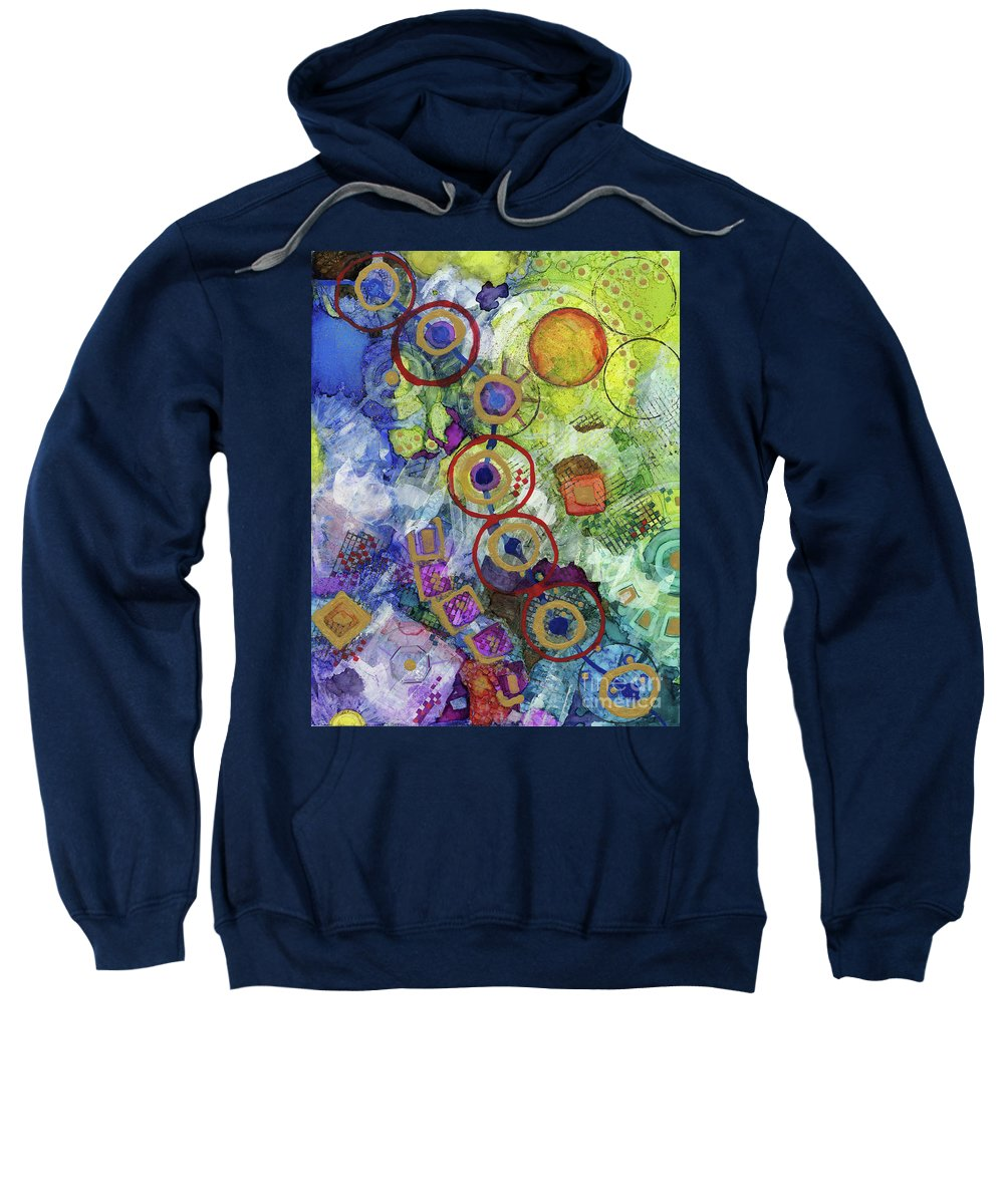 Acrylic Ink Sweatshirt featuring the painting There's Always A Blue Thread Through It by Vicki Baun Barry