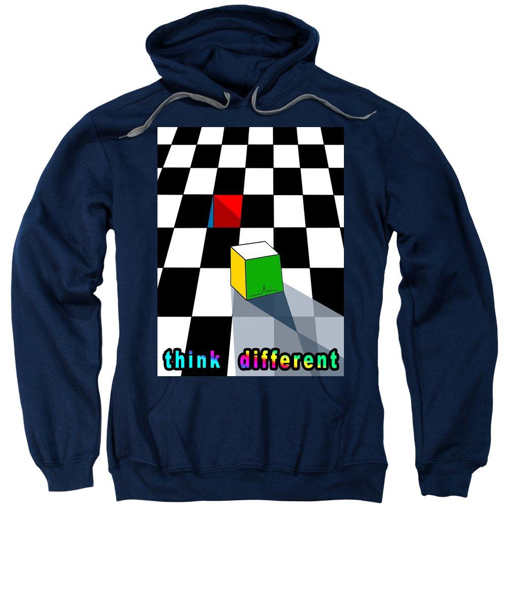 Chessboard Sweatshirt featuring the digital art Think Different by Miki De Goodaboom