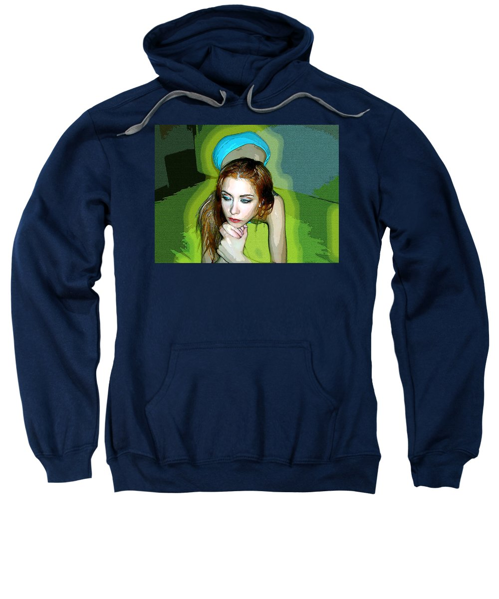 Women Sweatshirt featuring the photograph Thinking by Francisco Colon