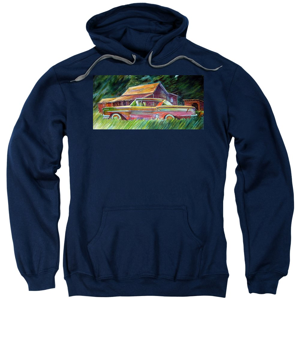 Rusty Car Chev Impala Sweatshirt featuring the painting This Impala Doesn by Ron Morrison