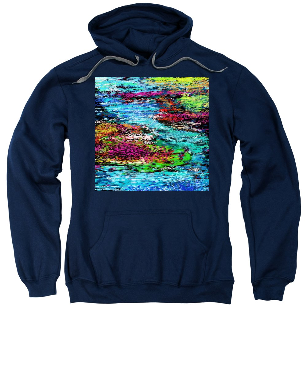 Abstract Sweatshirt featuring the digital art Thought Upon A Stream by David Lane
