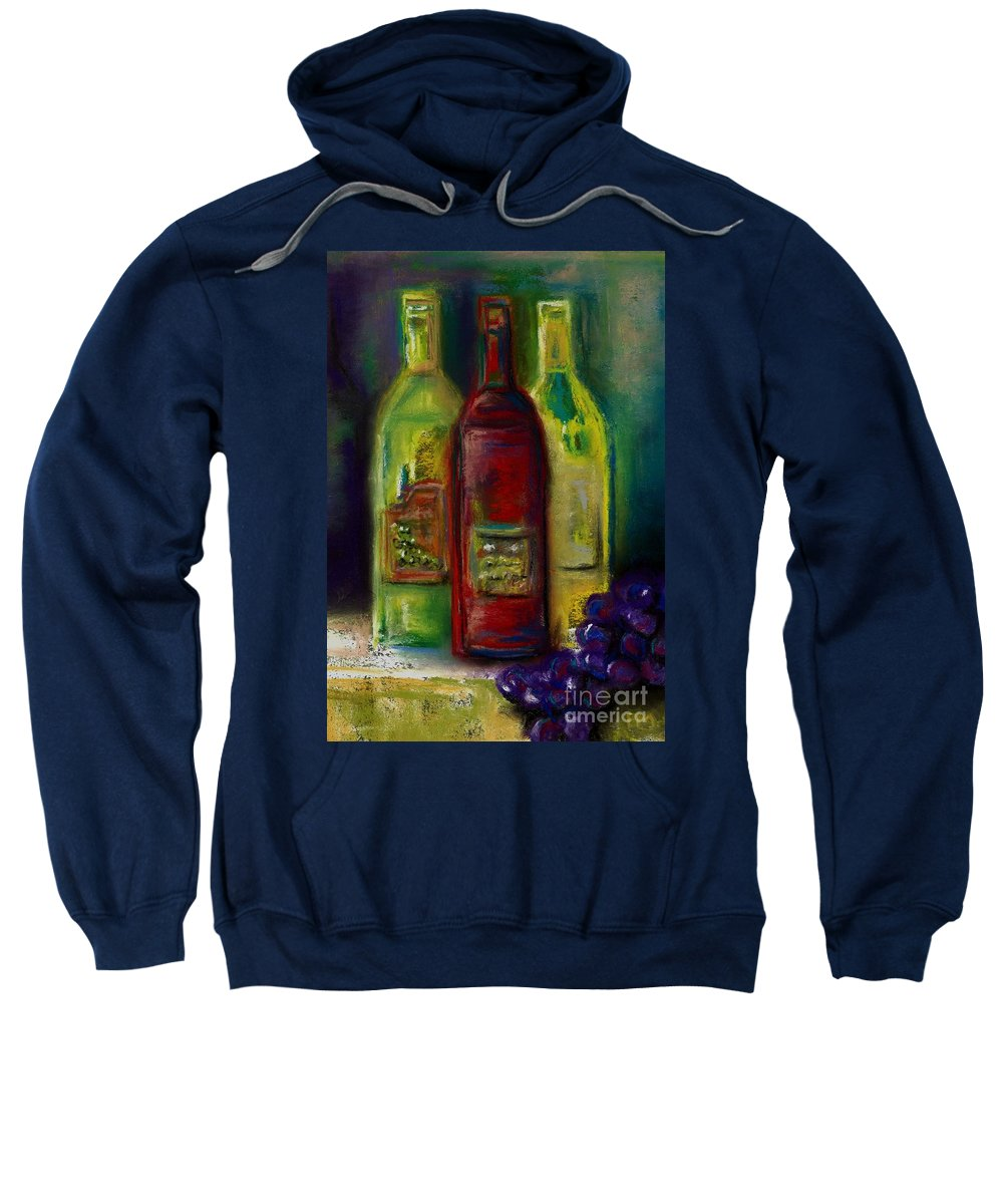 Wine Sweatshirt featuring the painting Three More Bottles Of Wine by Frances Marino