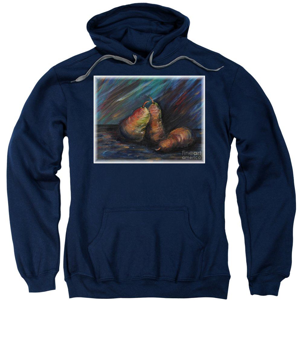 Pears Fruit Stilllife Blue Red Gold Orange Sweatshirt featuring the painting Three Pears by Nadine Rippelmeyer