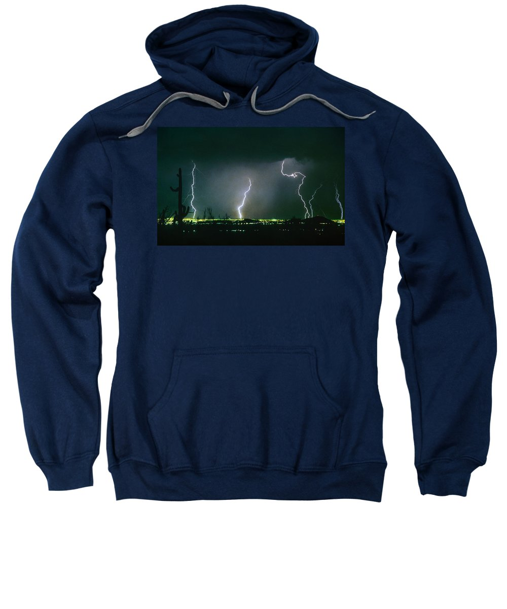 Lightning Sweatshirt featuring the photograph Thunderstorm View From North Scottsdale Arizona by James BO Insogna