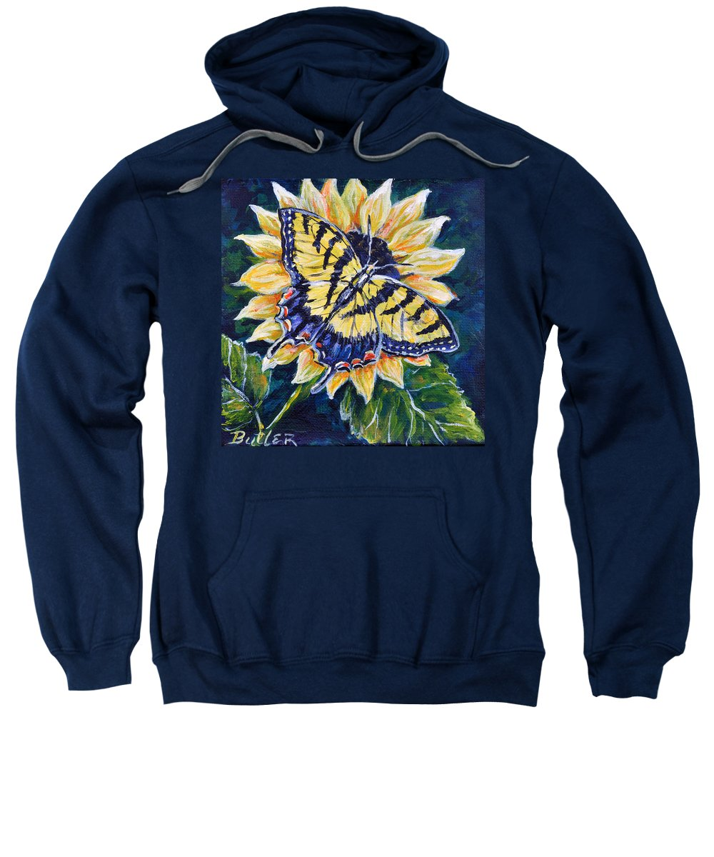 Butterfly Tiger Swallowtail Sunflower Nature Yellow Sweatshirt featuring the painting Tiger And Sunflower by Gail Butler
