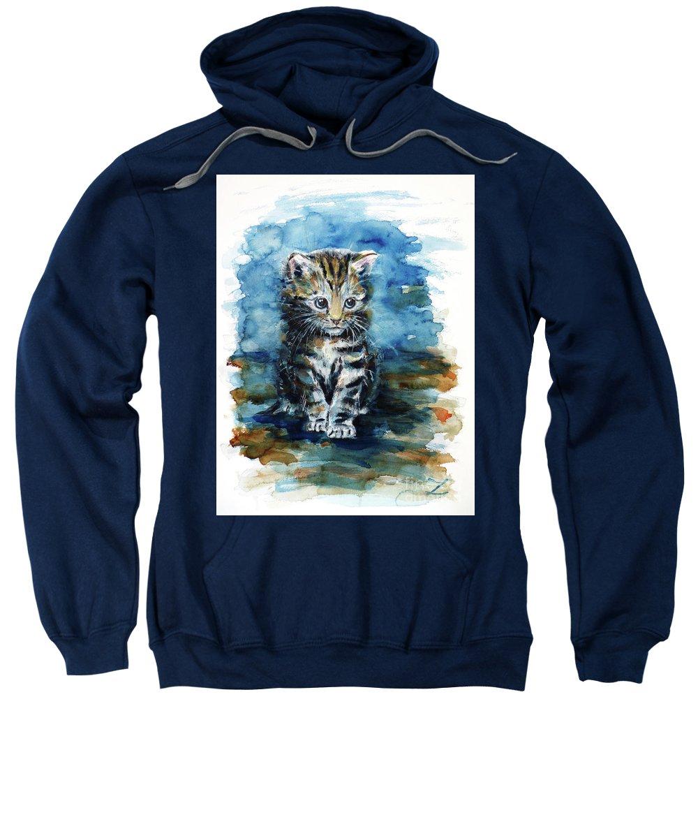Timid Kitten Sweatshirt featuring the painting Timid Kitten by Zaira Dzhaubaeva