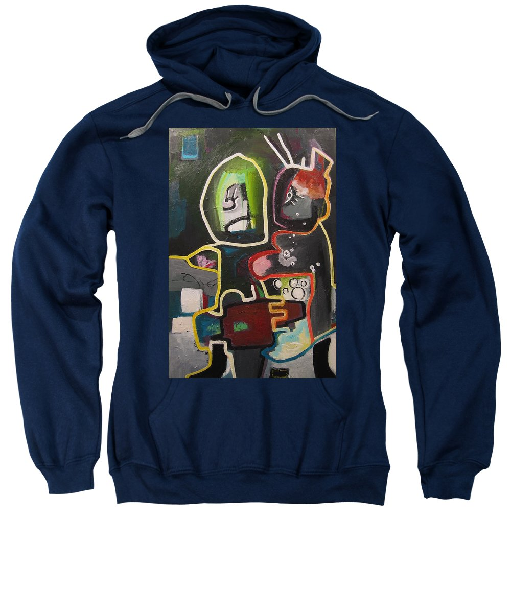 Couple Paintings Sweatshirt featuring the painting To Get Along by Seon-Jeong Kim
