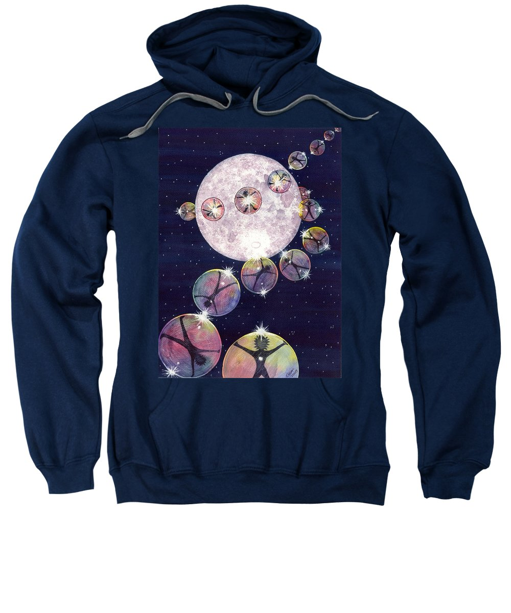 Moon Sweatshirt featuring the painting To The Moon And Beyond by Catherine G McElroy