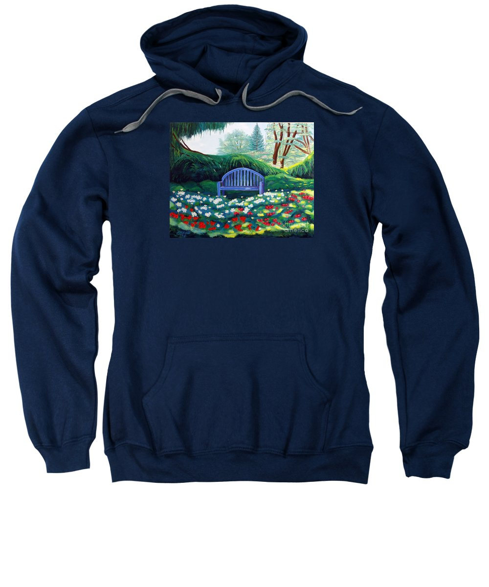 Park Sweatshirt featuring the painting Today I Feel Like Hiding by Milagros Palmieri