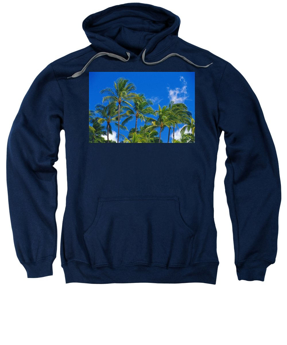 Afternoon Sweatshirt featuring the photograph Tops Of Palms by Bill Brennan - Printscapes