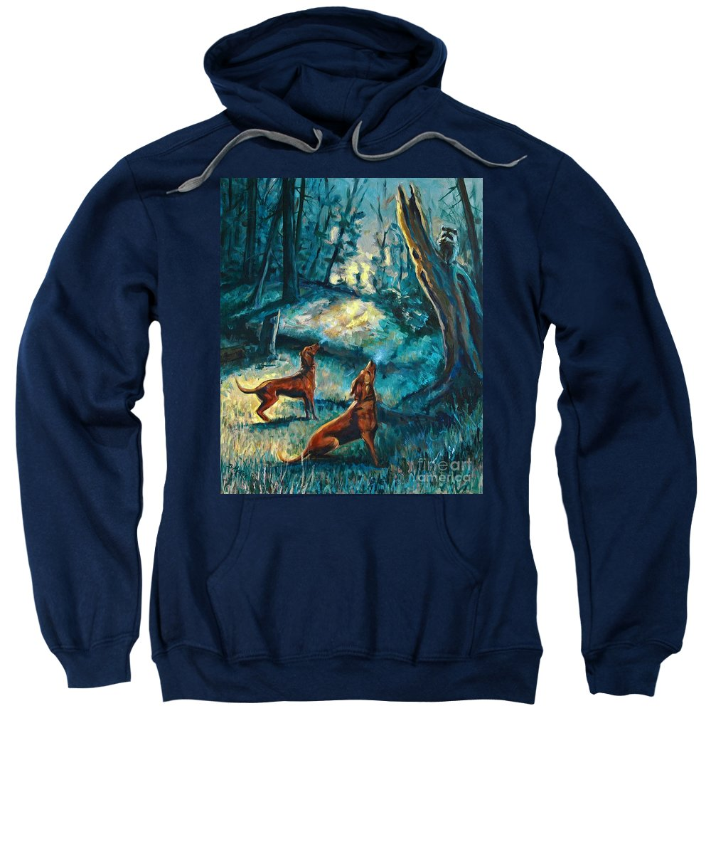 Acrylic Sweatshirt featuring the painting Treed At Dawn by Suzanne McKee