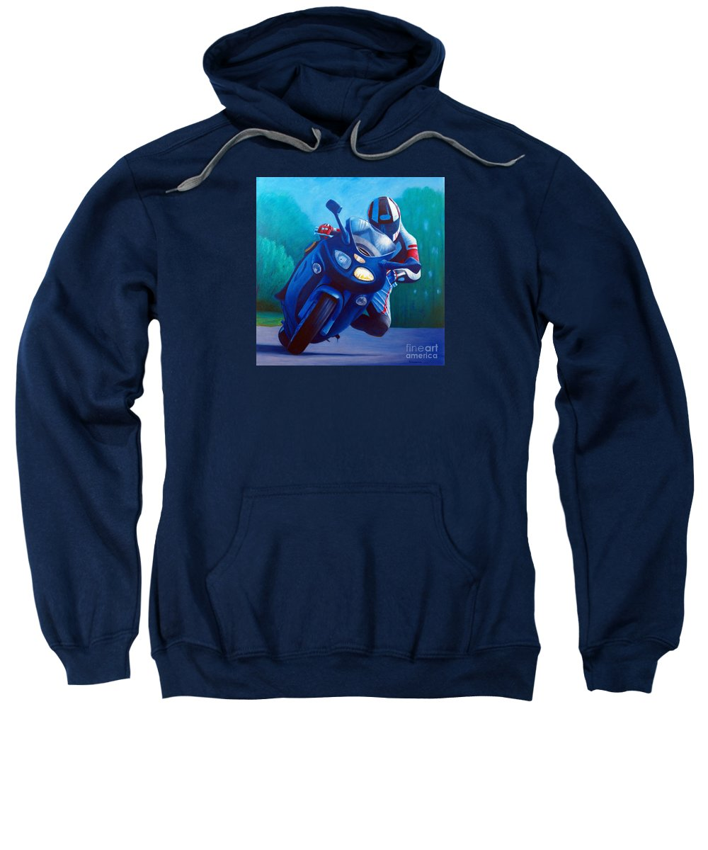 Motorcycle Sweatshirt featuring the painting Triumph Sprint - Franklin Canyon by Brian Commerford