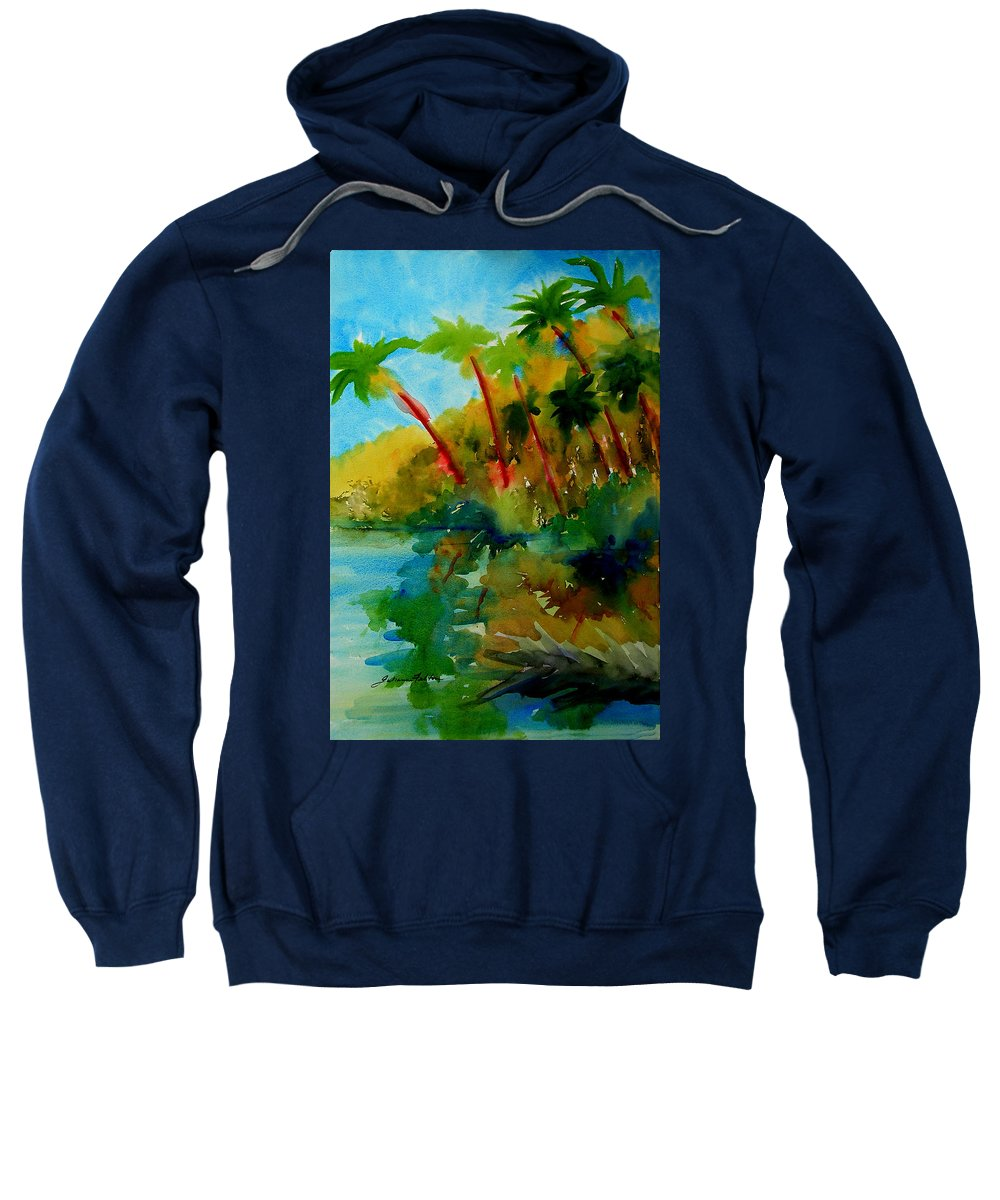 Art Sweatshirt featuring the painting Tropical Canal by Julianne Felton