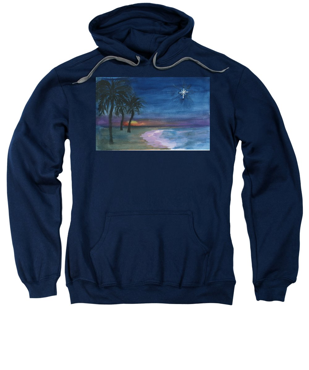 Palm Trees Sweatshirt featuring the painting Tropical Christmas by Donna Walsh