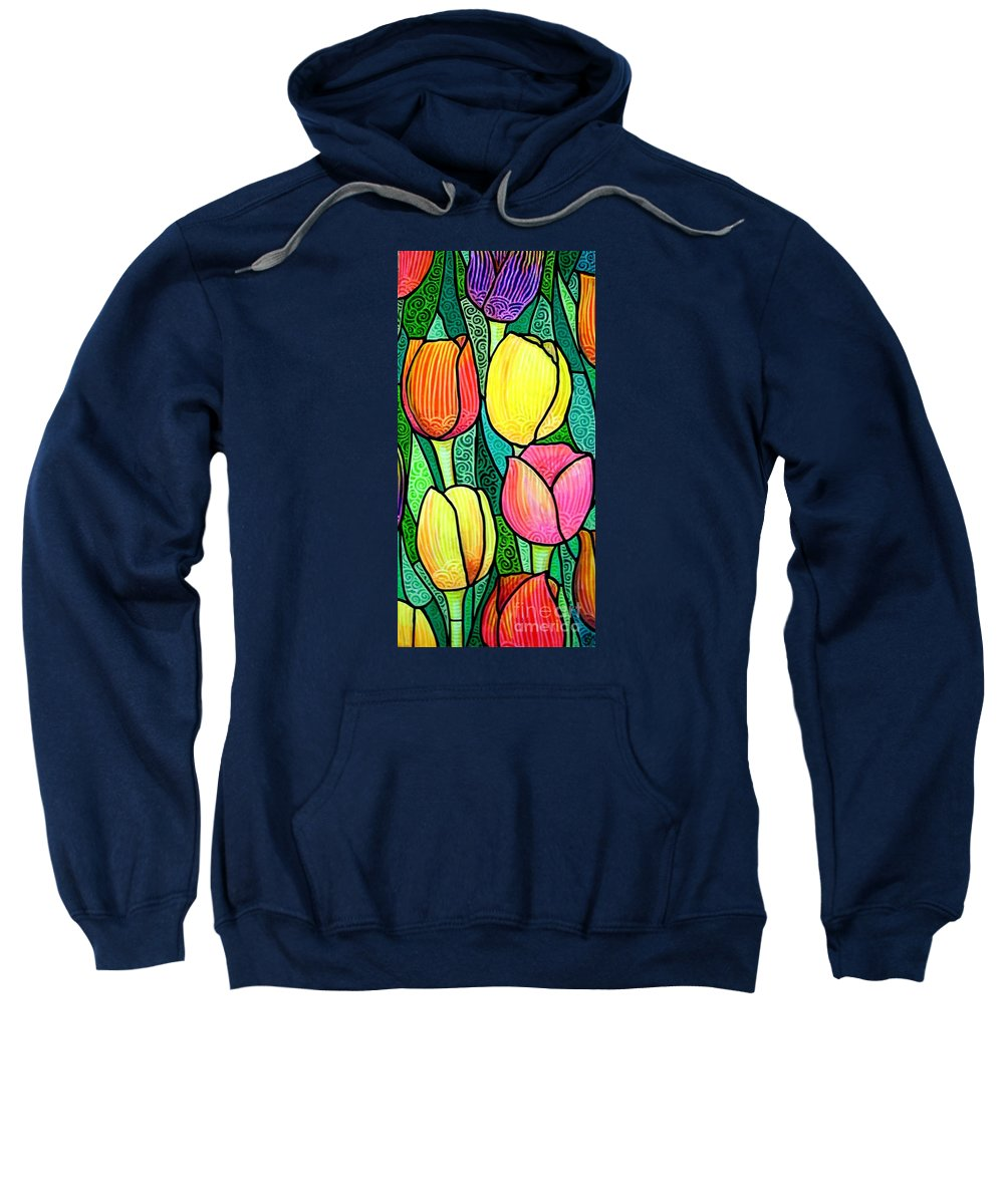Tulips Sweatshirt featuring the painting Tulip Expo by Jim Harris