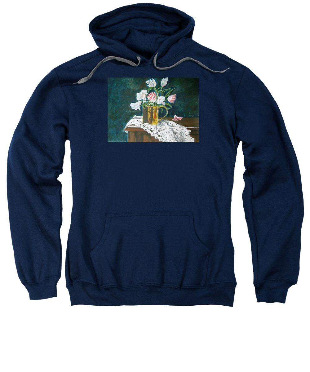 Tulips Sweatshirt featuring the painting Tulips by Manjiri Kanvinde