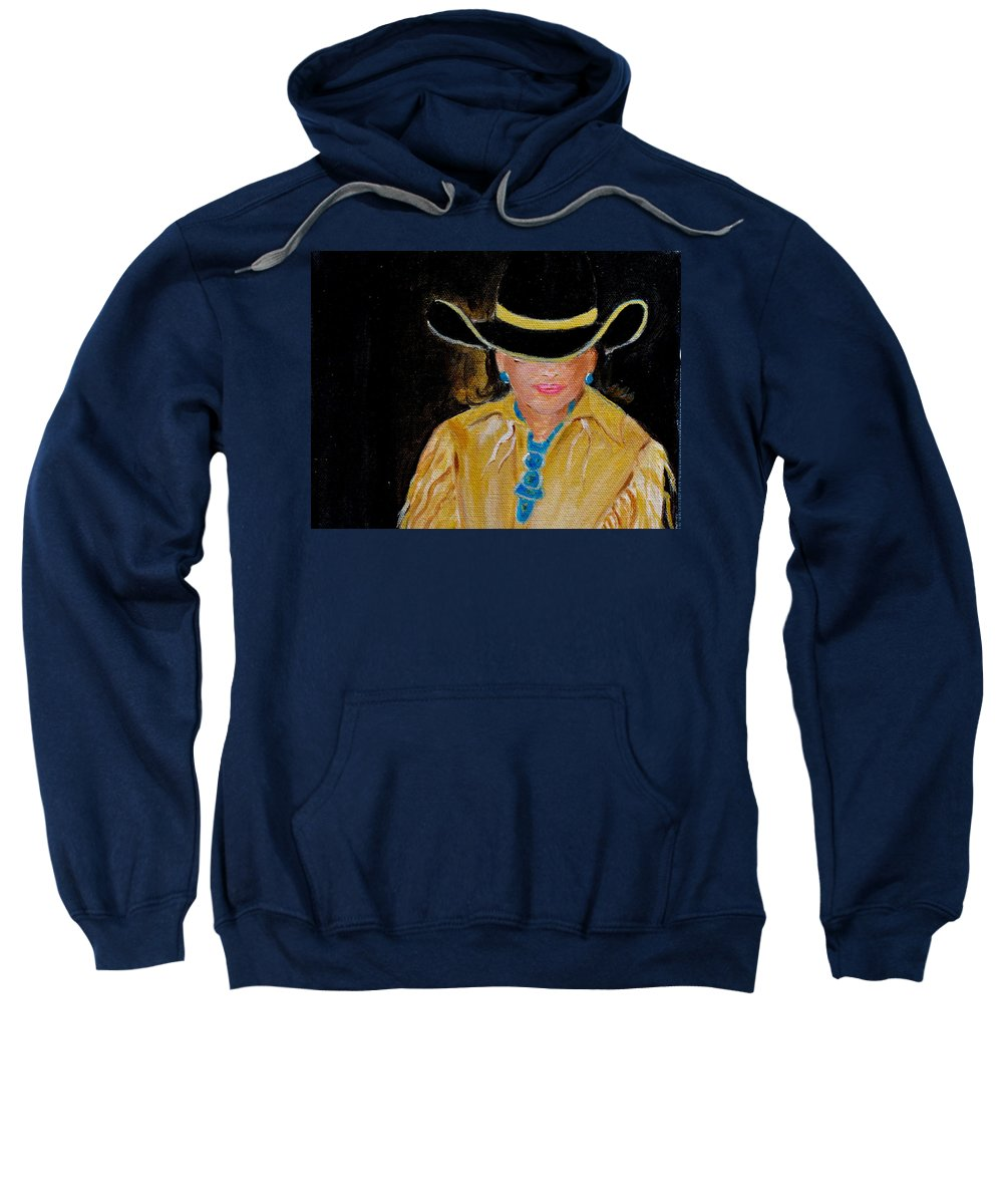 Turquiose Sweatshirt featuring the painting Turquoise Lady 3 by Donna Steward
