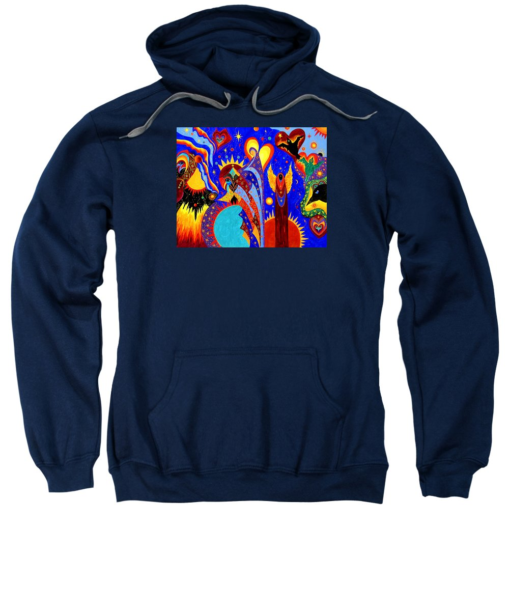 Abstract Sweatshirt featuring the painting Angel Fire by Marina Petro