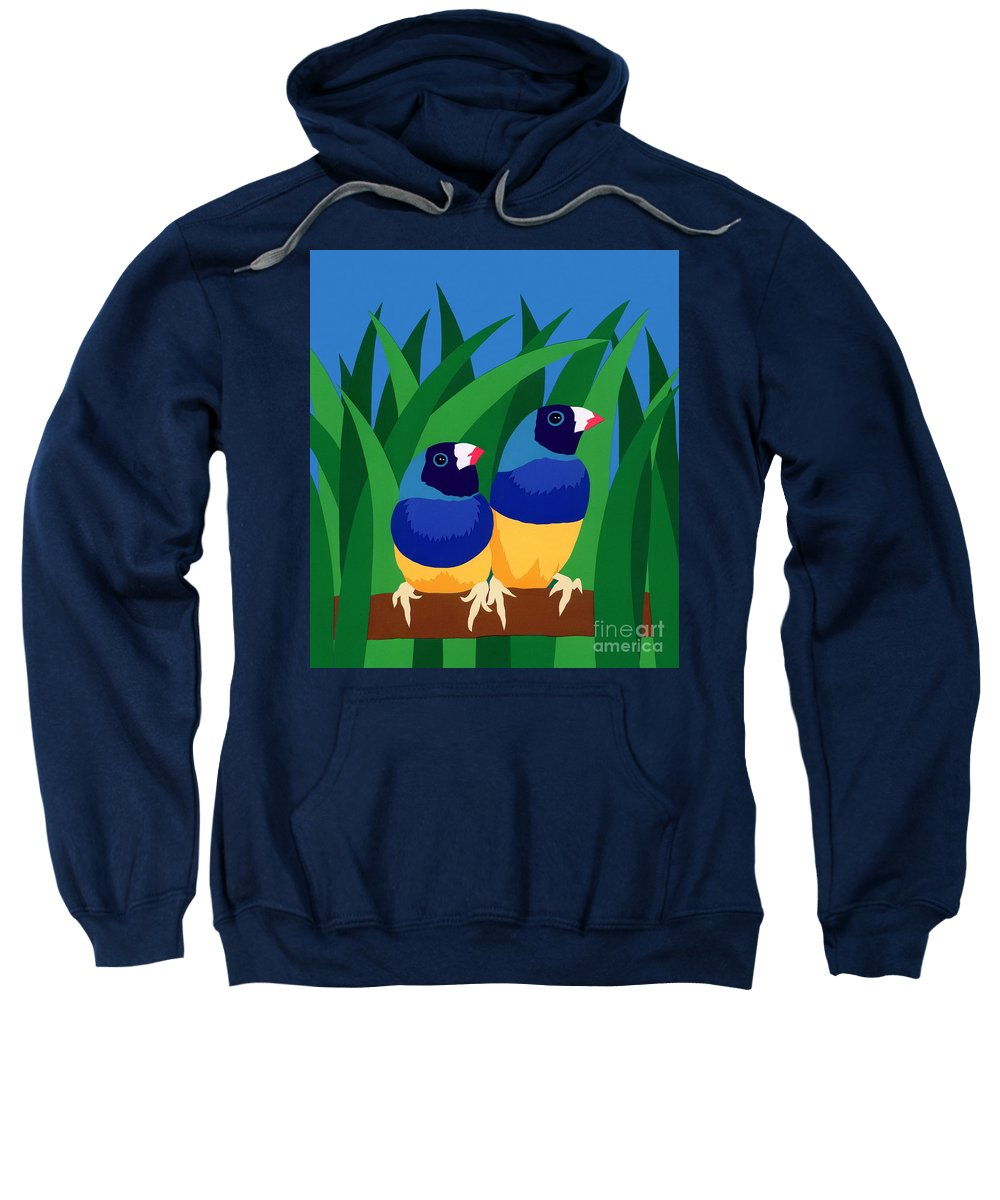 Nature Sweatshirt featuring the drawing Two Birds Sharing A Branch by Lucyna A M Green