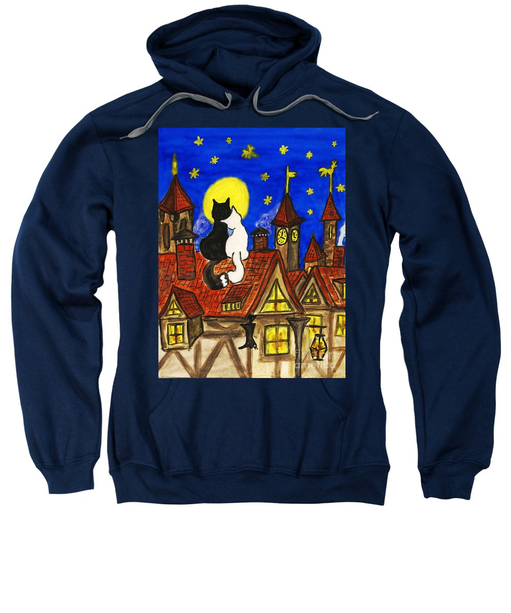 Animal Sweatshirt featuring the painting Two Cats On The Roof by Irina Afonskaya