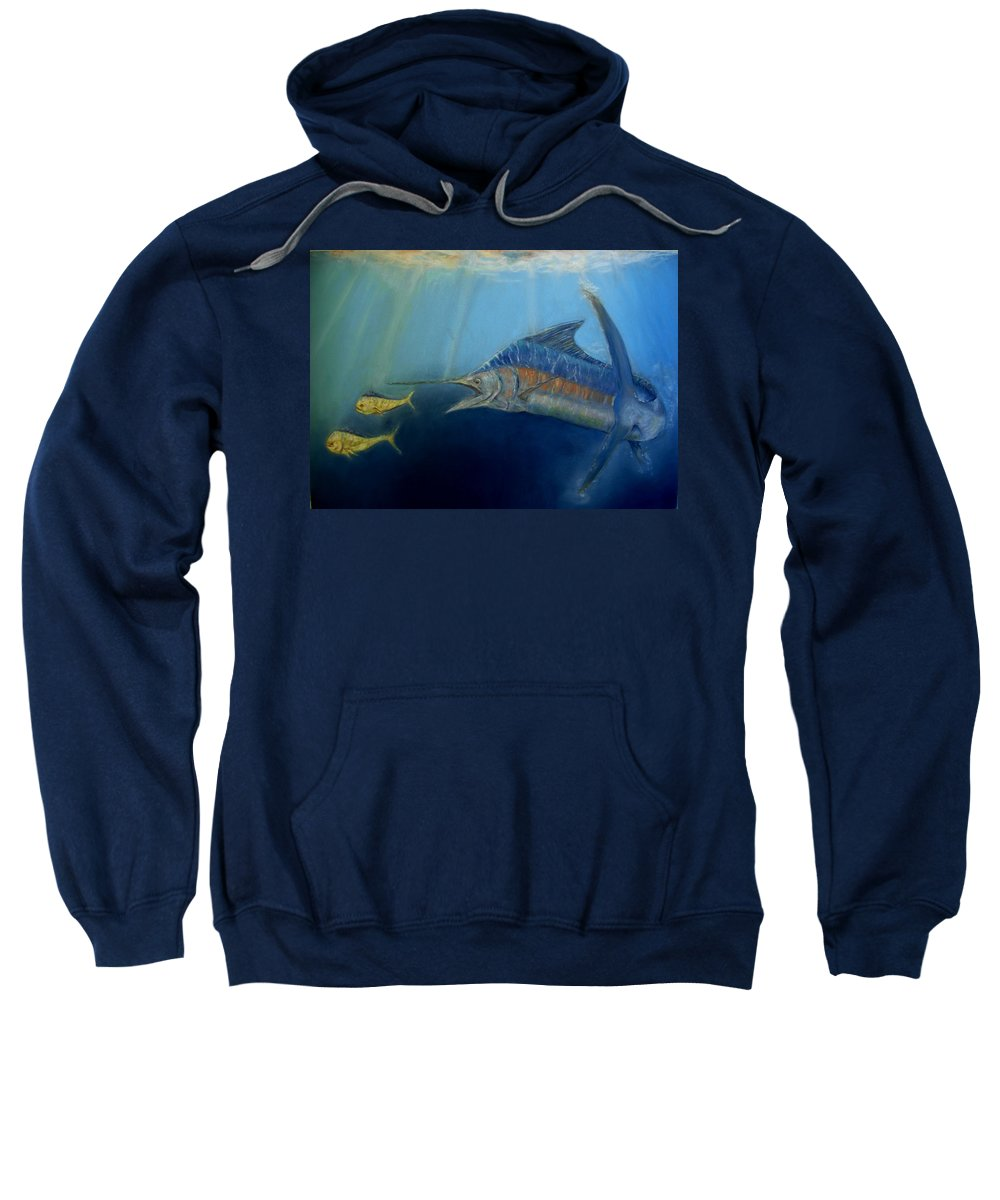 Marine Wildlife Sweatshirt featuring the pastel Two For Lunch by Ceci Watson
