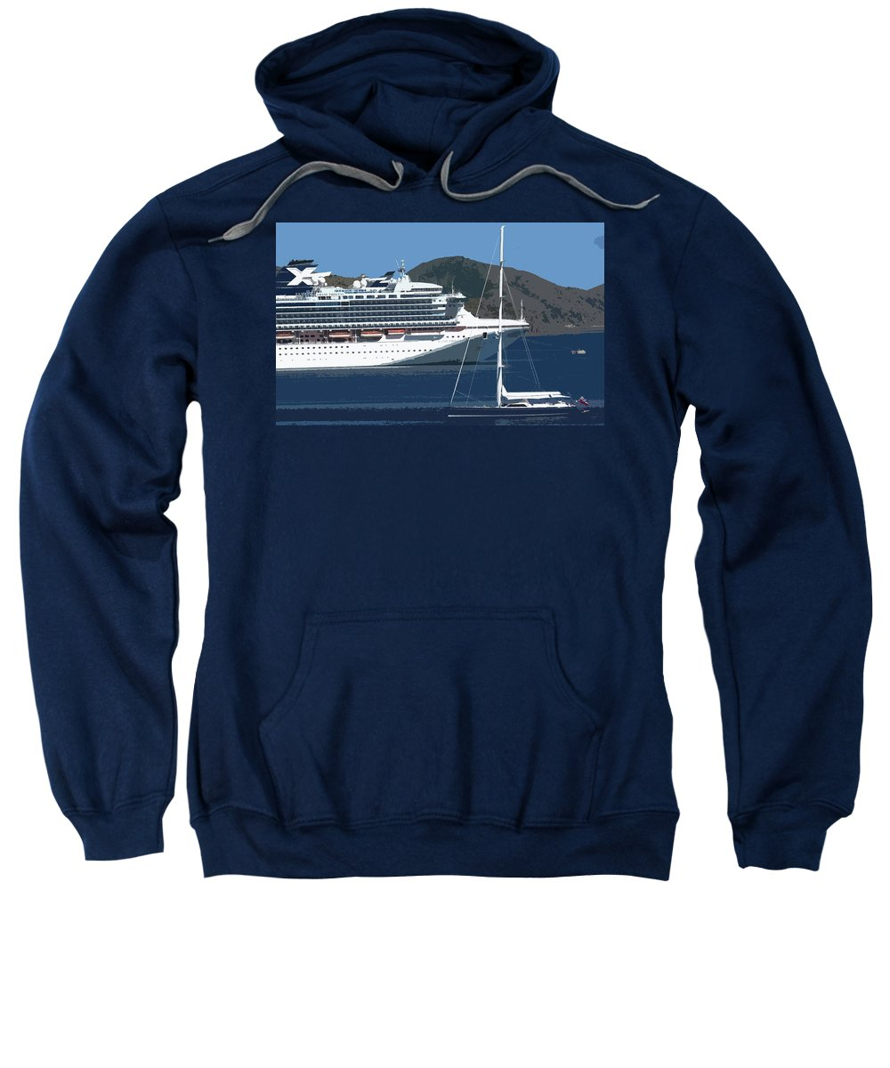 Carnival Sweatshirt featuring the photograph Two Ladies Passing by Ian MacDonald
