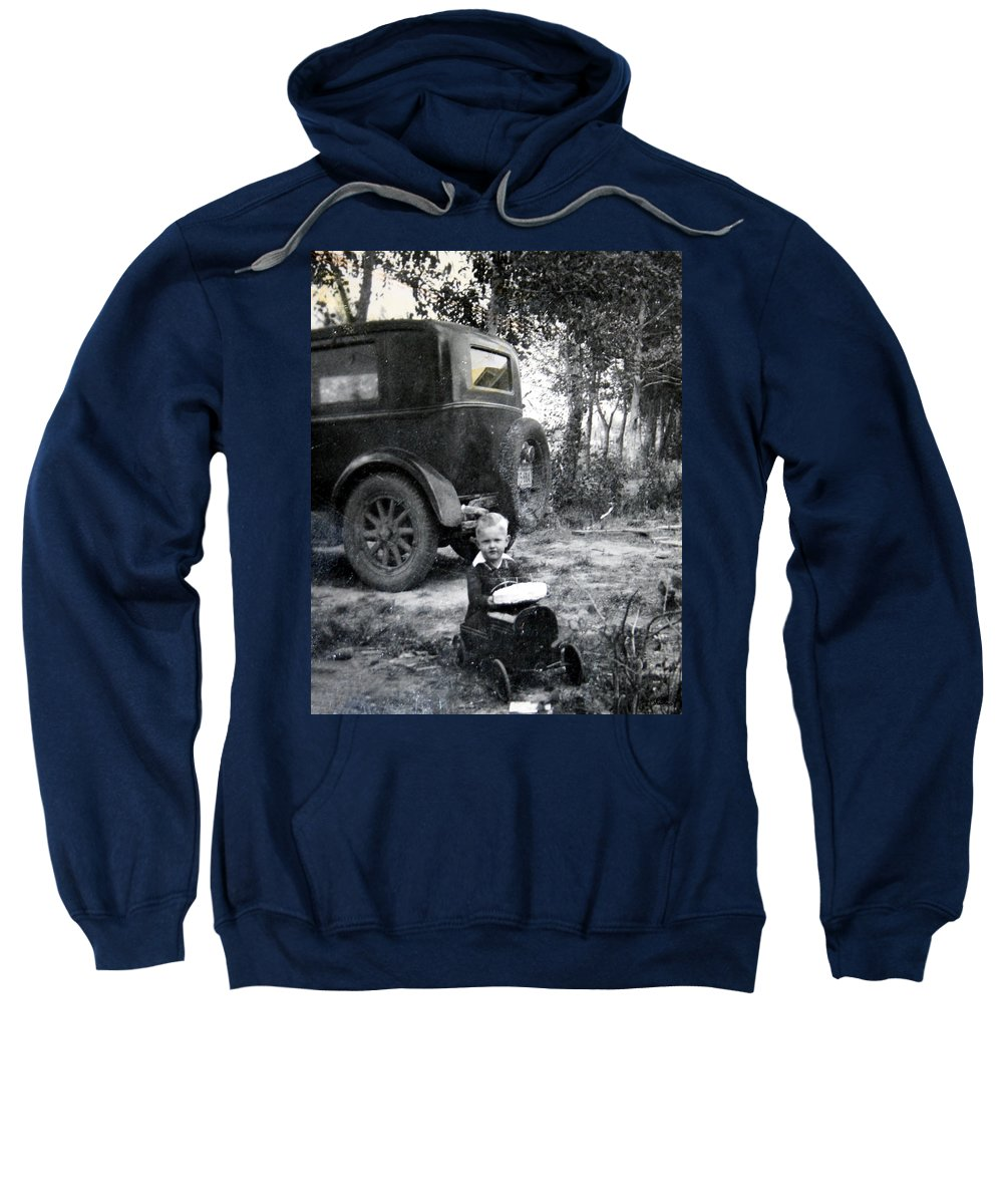 Classic Cars Antique Automobile Toy Toys Black And White Photograph Classic Sweatshirt featuring the photograph Two Old Cars by Andrea Lawrence