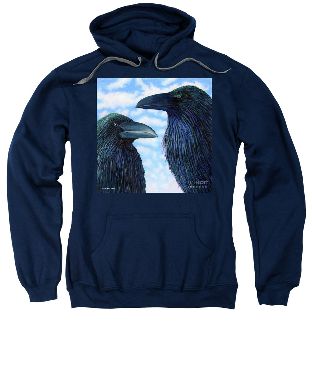 Raven Sweatshirt featuring the painting Two Ravens by Brian Commerford