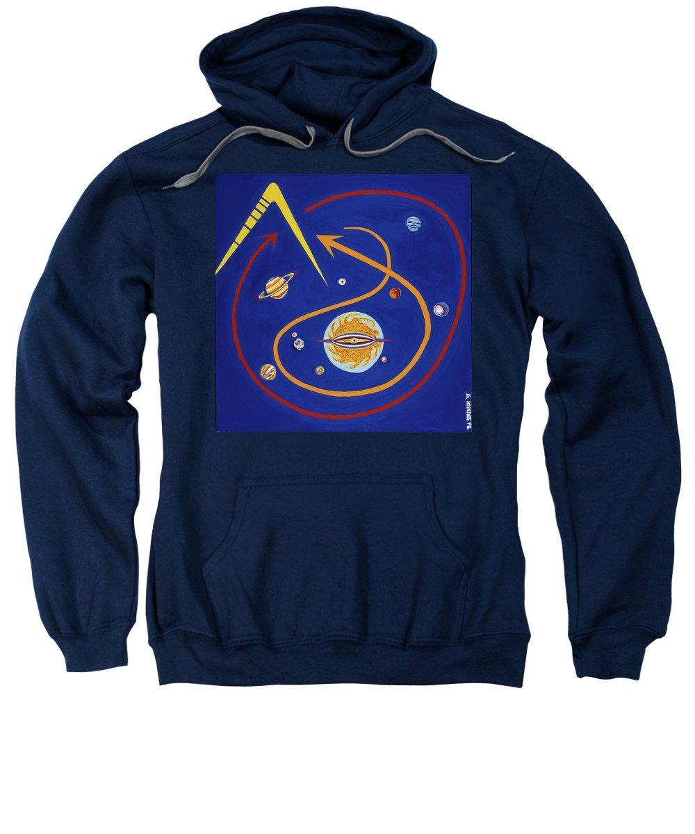 Mercury Sweatshirt featuring the painting Ufo Universe by Robert SORENSEN