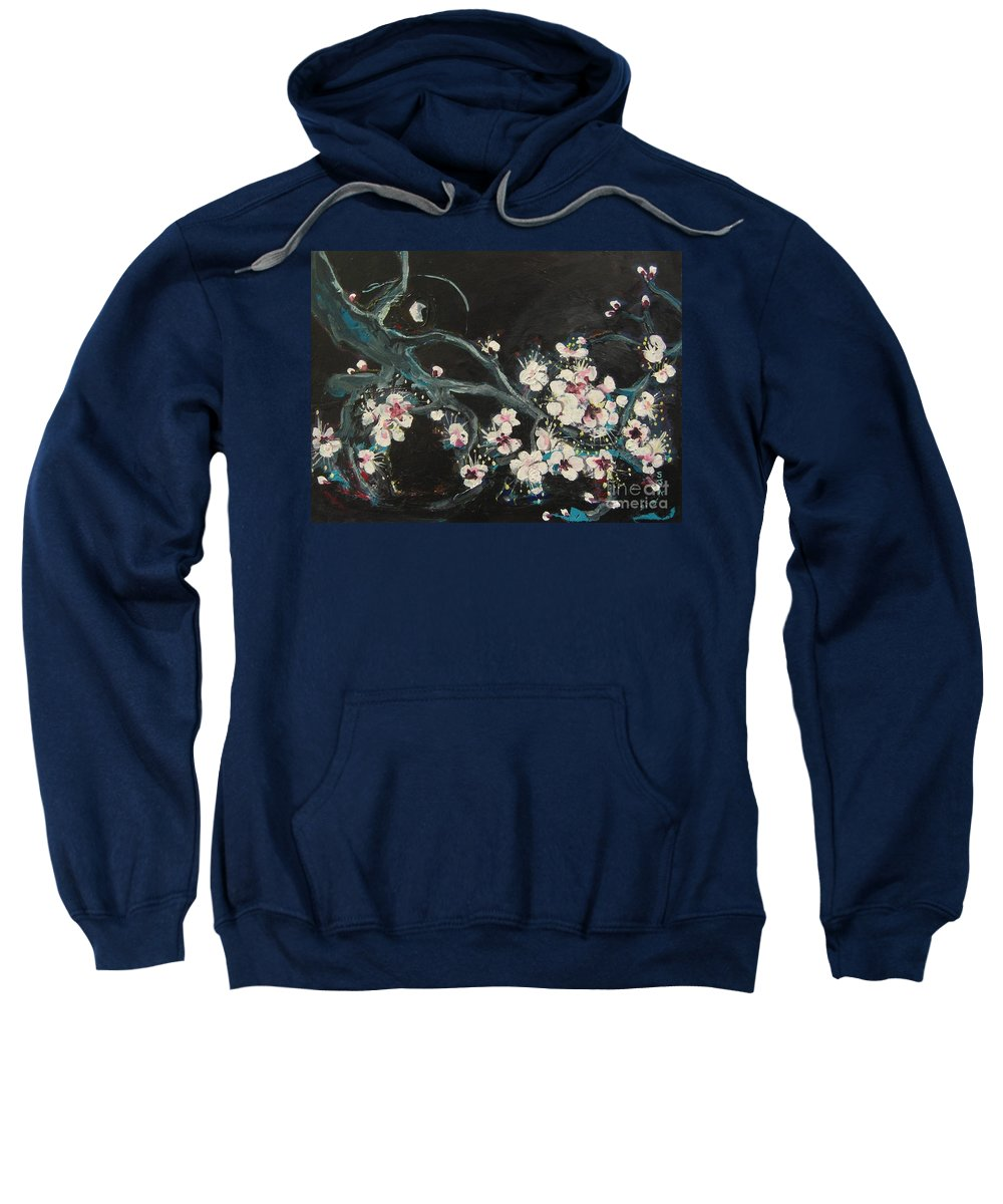 Ume Blossoms Paintings Sweatshirt featuring the painting Ume Blossoms2 by Seon-Jeong Kim