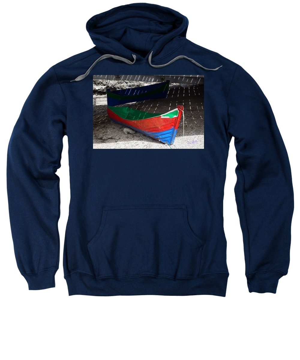 Boat Sweatshirt featuring the photograph Under The Boardwalk by Charles Stuart