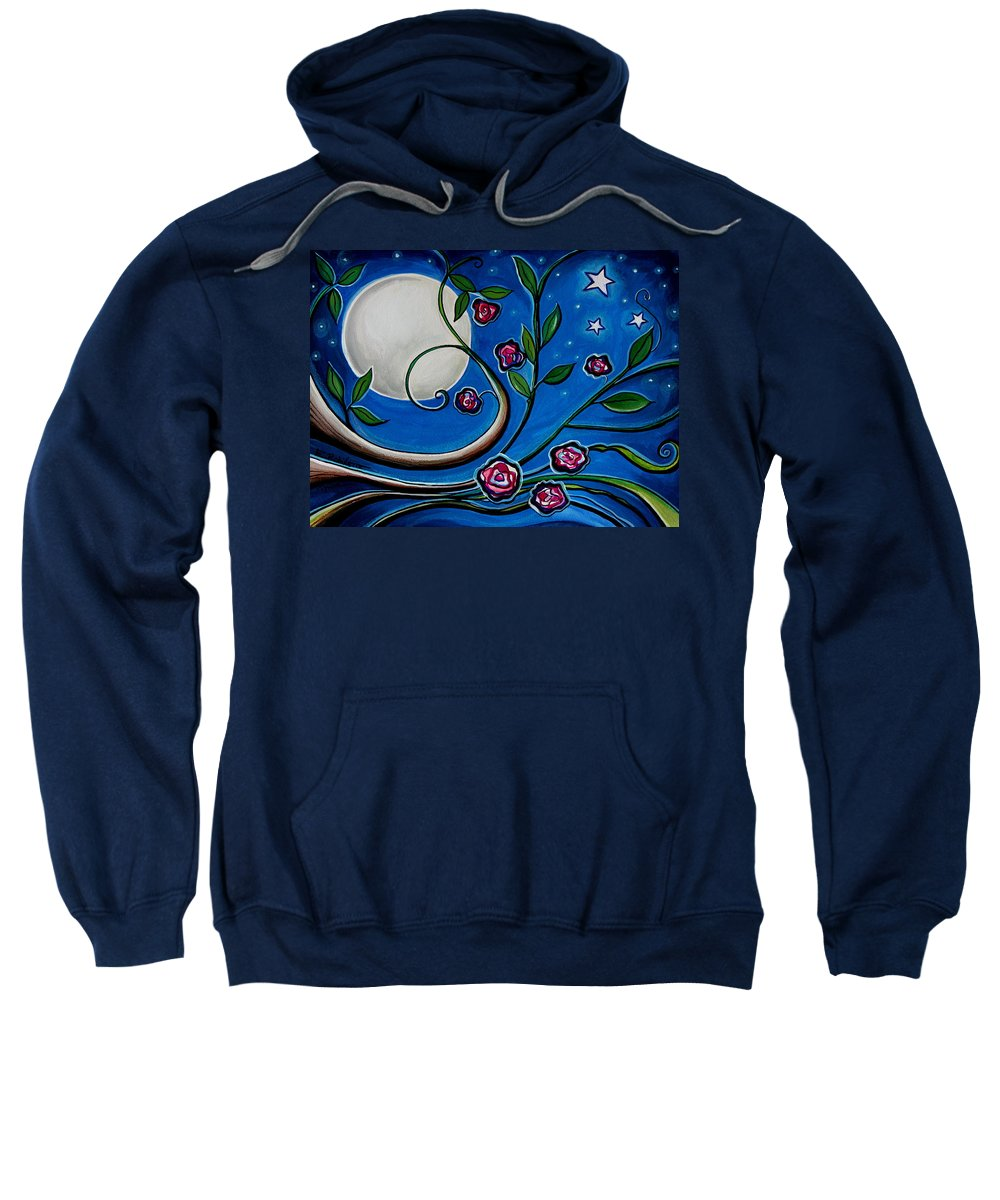 Flowers Sweatshirt featuring the painting Under The Glowing Moon by Elizabeth Robinette Tyndall