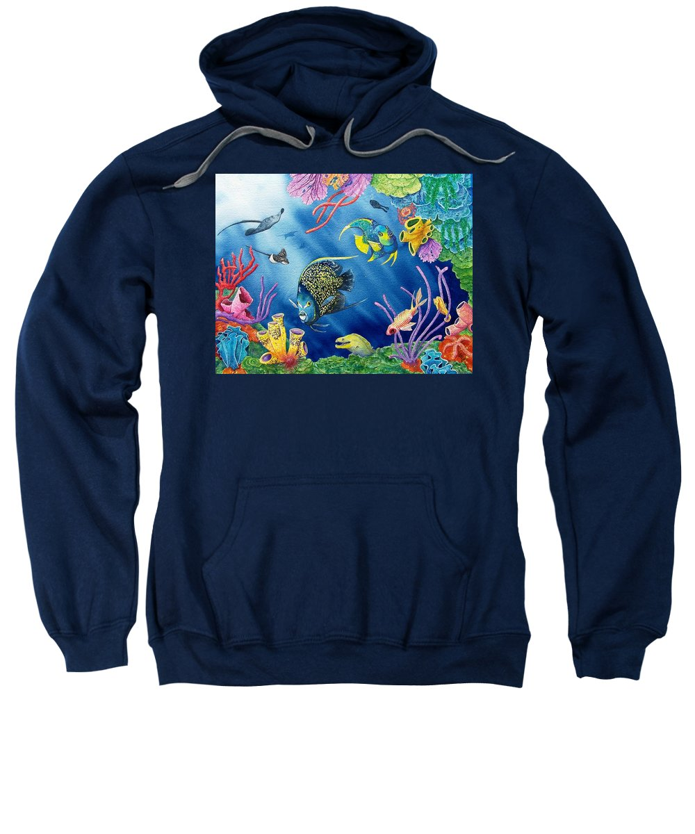 Undersea Sweatshirt featuring the painting Undersea Garden by Gale Cochran-Smith