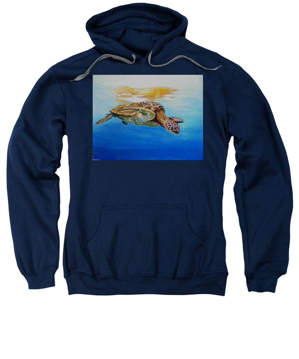 Wildlife Sweatshirt featuring the painting Up For Some Rays by Ceci Watson